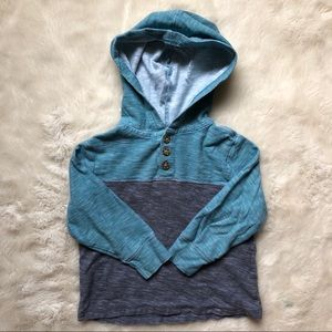 Old Navy Blue & Grey Hooded Shirt Size 2T